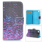 Protective Flip-open PU Leather Case w/ Stand + Card Slot for IPHONE 4G / 4S - Multi-colored