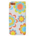 Kinston Moonlit Peach Blossom PU Leather Full Body Case with Stand for IPHONE 5 / 5S - Green + White
