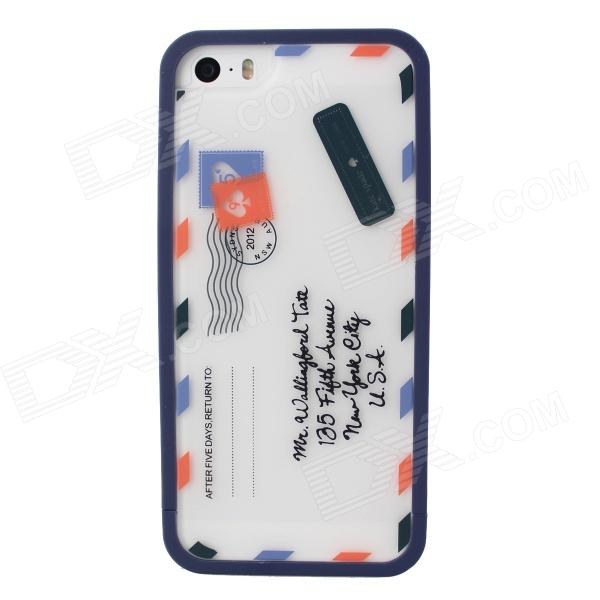 Envelope Pattern Protective TPU Case Cover for IPHONE 5 / 5S - White + Blue mercury goospery flash powder gel tpu cases cover for iphone se 5s 5 rose