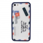 Envelope Pattern Protective TPU Case Cover for IPHONE 5 / 5S - White + Blue