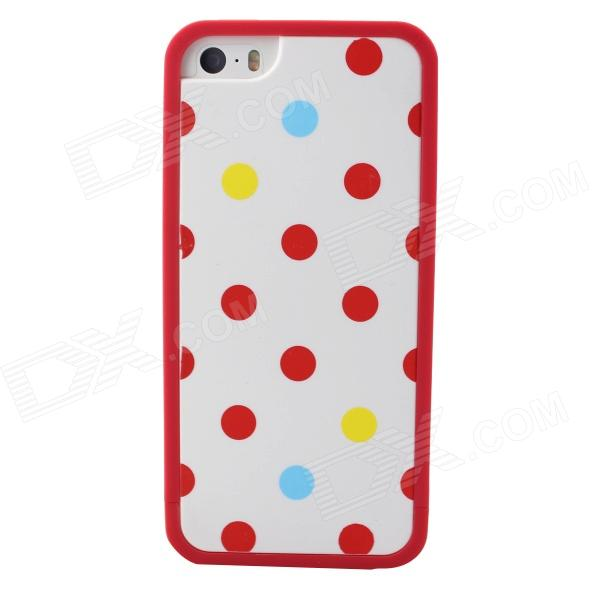 Polka Dot Style Protective TPU Back Case for IPHONE 5 / 5S - White + Red