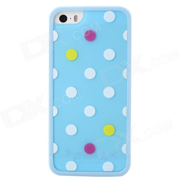 Polka Dot Style Protective TPU Back Case for IPHONE 5 / 5S - Sky Blue + White blue sky чаша северный олень