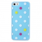 Polka Dot Style Protective TPU Back Case for IPHONE 5 / 5S - Sky Blue + White