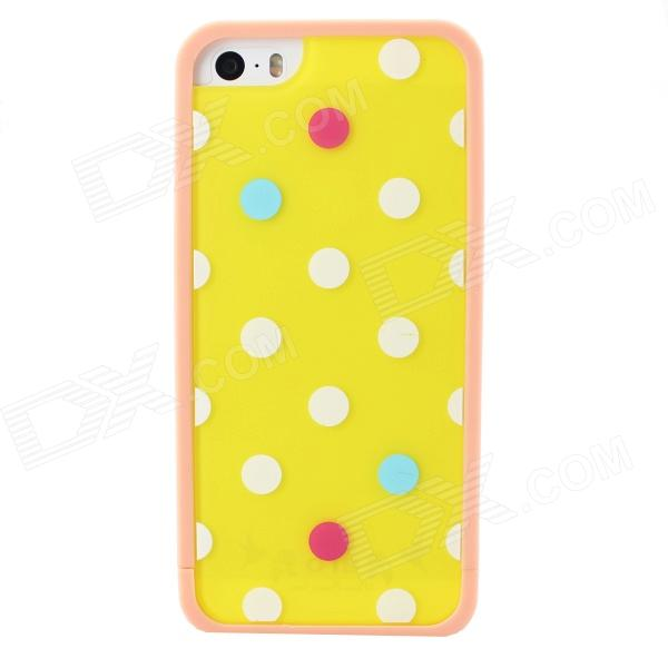 Polka Dot Style Protective TPU Back Case for IPHONE 5 / 5S - Yellow + White cute marshmallow style silicone back case for iphone 5 5s yellow white
