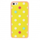 Polka Dot Style Protective TPU Back Case for IPHONE 5 / 5S - Yellow + White