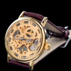 MCE 01-0060038 Skeleton PU Band Manual-Winding Mechanical Wrist Watch - Wine Red + Golden