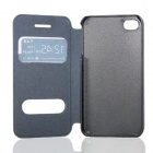 Flower Show Protective PU Leather Case Cover Stand for IPHONE 4 / 4S - Black