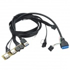 CHEERLINK USB 3.0 +2-USB 2.0 + 3.5mm Jack Front Panel Expansion Cable for Computer - Black