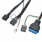 CHEERLINK USB 3.0 + 2-USB 2.0 + 3.5mm Jack Etupaneelin Expansion Cable for Computer - Musta