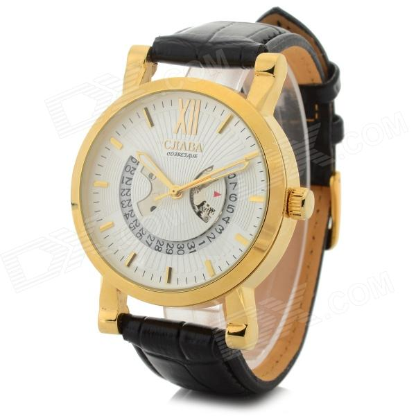 CJIABA 8023 Men's Fashionable PU Band Analog Mechanical Wristwatch w/ Calendar - Black + Golden