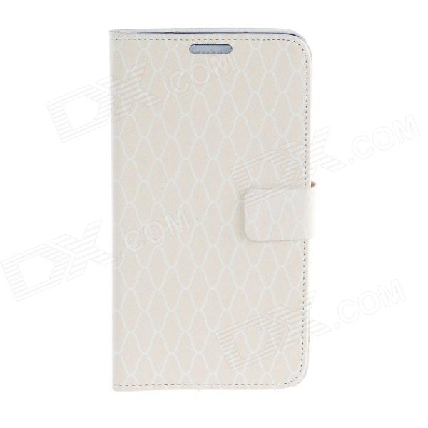 Kinston Romantic Grid Pattern PU Leather Full Body Case for Samsung Galaxy Note 3 - Beige + White