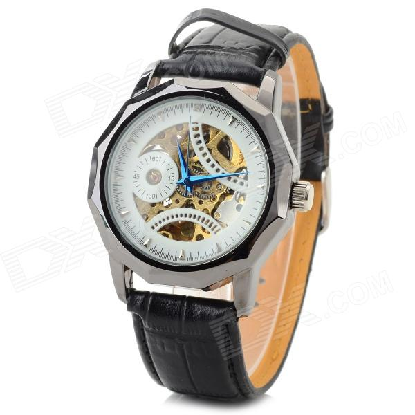 CJIABA 8001 Skeleton PU Band Self-Winding Mechanical Wrist Watch - Black + Golden + White