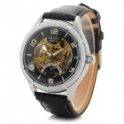 CJIABA 8026 Skeleton PU Band Self-Winding Mechanical Wrist Watch - Black + Golden + Silver