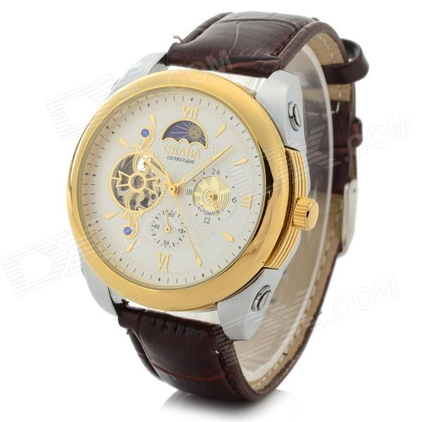 CJIABA 506 Men's Stylish PU Band Analog Mechanical Wristwatch - Golden + Brown