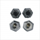 Carking DIY Car Parts License Plate Frame Zinc Alloy Screw Bolt Caps Covers - Black + Silver (4PCS)