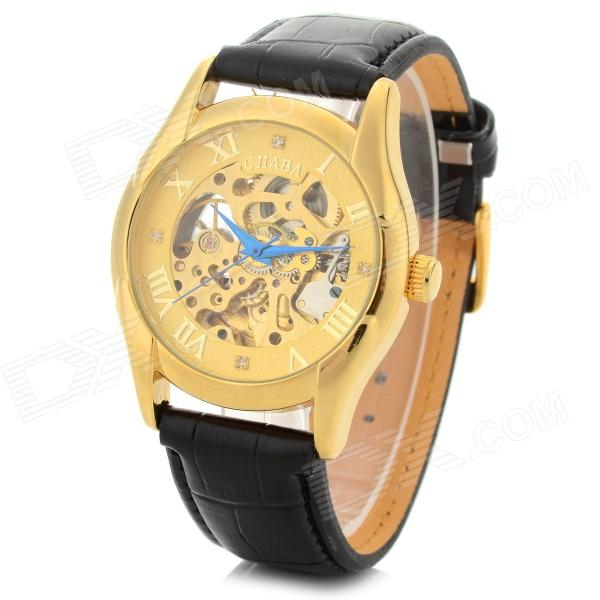 CJIABA GK09001 Men's Skeleton PU Band Analog Mechanical Wrist Watch - Black + Golden