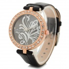 Haiyan 6487 Women's Crystal Studded PU Band Analog Quartz Wristwatch - Black +  Rose Gold (1 x 626)