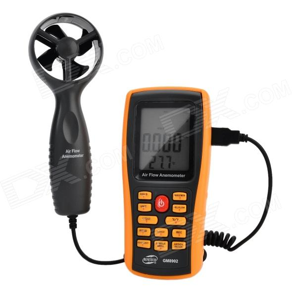 BENETECH GM8902 2.6 LCD Digital Wind Speed Meter Anemometer - Yellow + Black (4 x AAA) digital indoor air quality carbon dioxide meter temperature rh humidity twa stel display 99 points made in taiwan co2 monitor