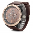V6  V0166 Men's Sports Silicone Band Analog Quartz Wristwatch - Coffee + Golden (1 x 626)