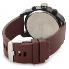 V6 V0166 menn Sports silikon Band analoge armbåndsur - kaffe + Golden (1 x 626)