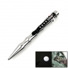 OUMILY Stainless Steel Outdoor Self-Defense Tactical Pen w/ LED Light - Silver