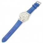 Haiyan 6492 Women's Crystal Studded PU Band Analog Quartz Wristwatch - Dark Blue + Silver (1 x 626)