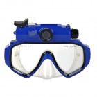 RD-F7000 5.0MP CMOS Wide-Angle HD Diving Mask Camera w/ DV / 2-LED / Micro USB / TF - Blue