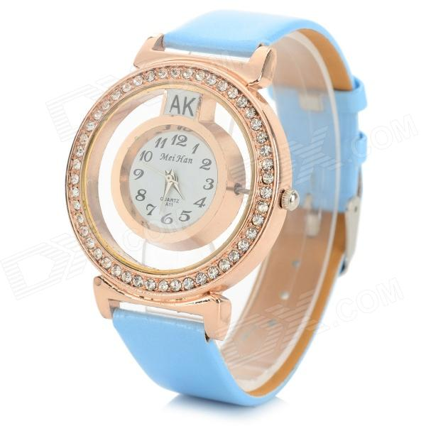 MeiHan A11 Women's PU Band Rhinestone Studded Analog Quartz Wristwatch - Blue + Rose Gold (1 x 626)