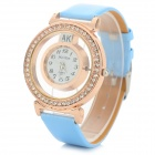Meihan A11 Frauen PU-Band Strass Nieten Analog-Quarz-Armbanduhr - Blau + Rose Gold (1 x 626)