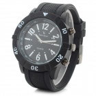 V6 Men's Sports Silicone Band Analog Quartz Wristwatch - Black (1 x 626)