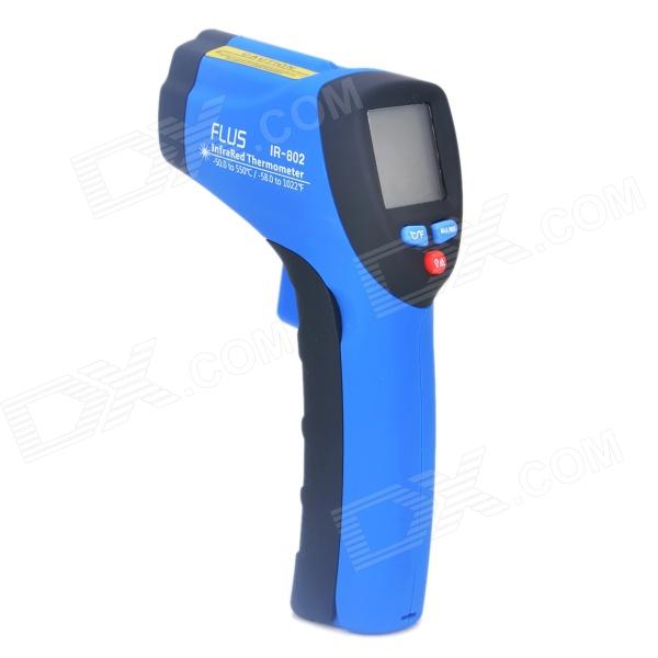 IR-802 1.2 LED Mini Wireless Handheld Infrared Laser Thermometer - Black + Blue (1 x 9V) ir 801 1 2 led mini wireless handheld infrared laser thermometer black blue 1 x 9v