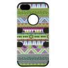 Aztec Indians Maya Mysterious Tribe Pattern Retro Silicone Full Body Case for IPHONE 5 / 5S - Black