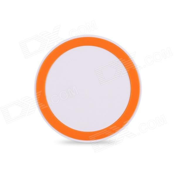 Round Shaped Qi Universal Wireless Charger for IPHONE / Nokia / LG / Samsung - White + Orange