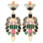 Resplendent Rhinestone Inlaid Zinc Alloy Earrings for Women - Golden + Green + Multi-Colored (Pair)