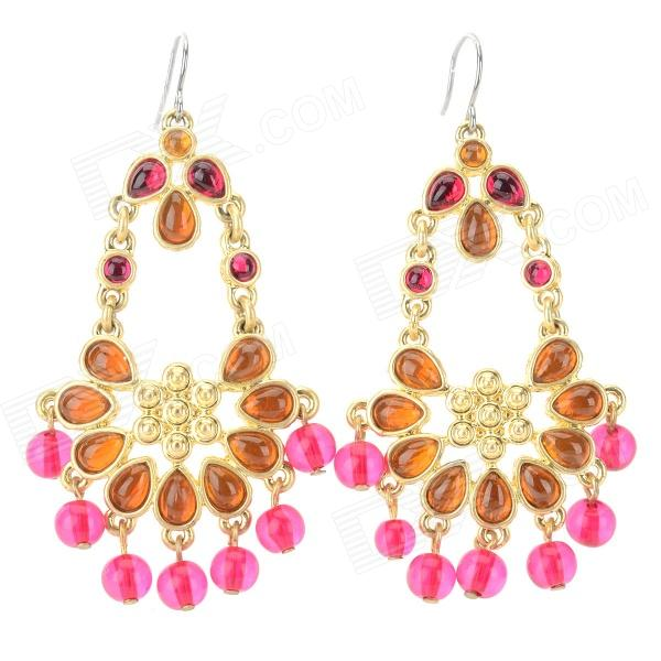 ER-3845 Bohemia Style Rhinestone Inlaid Zinc Alloy Earrings for Women - Golden + Deep Pink (Pair) fashionable flower shaped zinc alloy earrings for women golden black multi colored pair