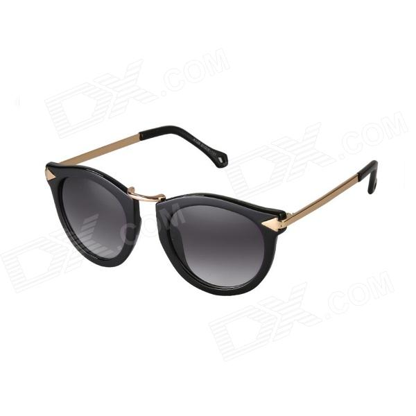 Reedoon K129 Retro Style Women's PC Frame Resin Lens UV400 Protection Sunglasses - Black reedoon 1417 trend of the goddess hip hop sunshade sunglasses black golden