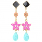 Fashionable Flower Shaped Zinc Alloy Earrings for Women - Golden + Black + Multi-Colored (Pair)