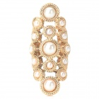 Fashionable Hollow Out Style Artificial Pearl Inlaid Zinc Alloy Ring for Women - Golden (U.S Size 7)