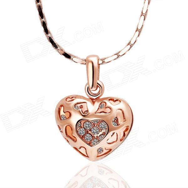 Fashionable Heart Shaped Rhinestone Inlaid Pendant Necklace for Women - Golden rhinestone heart chain pendant necklace
