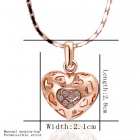 Fashionable Heart Shaped Rhinestone Inlaid Pendant Necklace for Women - Golden