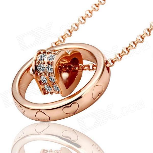 Fashionable Heart in Ring Shaped Rhinestone Inlaid Pendant Necklace for Women - Rose Gold fashionable women s rhinestone inlaid pendant necklace earrings set silver purple