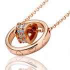 Fashionable Heart in Ring Shaped Rhinestone Inlaid Pendant Necklace for Women - Rose Gold