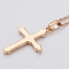 Bible Cross Shaped Rhinestone Inlaid Pendant Necklace for Women - Rose Gold