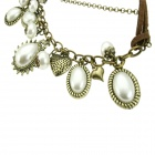 Fashionable Artificial Pearl + Shell Necklace for Women - Antique Brass + White