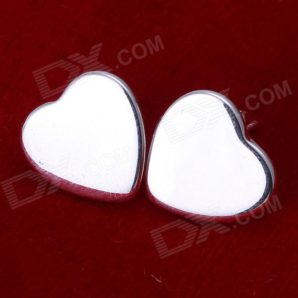 Fashionable Hear Shaped Brass Ear Studs for Women - Silver (Pair)