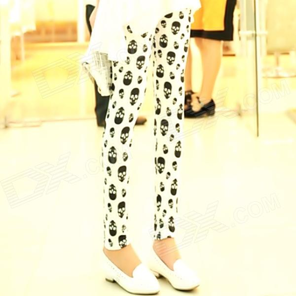 Women's Stylish Sexy Skulls Patterned Ice Silk Leggings -  White + Black dunlop sp winter ice 02 205 65 r15 94t