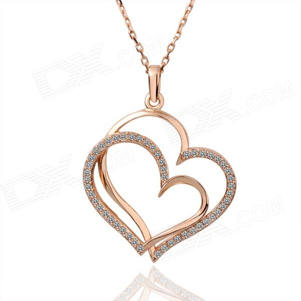 Fashionable Double Heart Shaped Rhinestone Inlaid Pendant Necklace for Women - Golden fashionable women s rhinestone inlaid pendant necklace earrings set silver purple