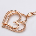 Fashionable Double Heart Shaped Rhinestone Inlaid Pendant Necklace for Women - Golden
