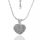 N004 Women's Tin Alloy Heart-Shaped Crystal Pendant Necklace - Silver