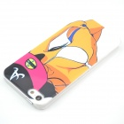 3D Sexy Bikini Girl Style Protective Hard Plastic Case for IPHONE 5 / 5S - White + Yellow
